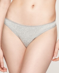 Charter Club Pretty Cotton Thong Grey Heather