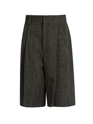 Marc Jacobs Mid Rise Striped Wool Culottes Black White