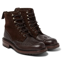 Cheaney Irvine Shearling Lined Leather And Suede Boots