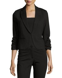 Neiman Marcus Fitted Blazer With Ruched Sleeves Black