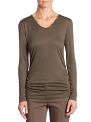 Akris Punto Ruched Side Jersey Top Olive