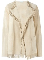 P.A.R.O.S.H. Frayed Edge Jacket Nude And Neutrals