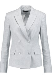 Theory Striped Linen Blend Jersey Blazer White