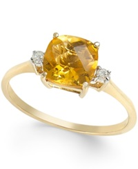 Macy's Citrine 1 1 2 Ct. T.W. And Diamond Accent Ring In 14K Gold Cetrine