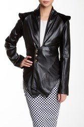 Nuvula Asymmetrical Vegan Leather Blazer Black