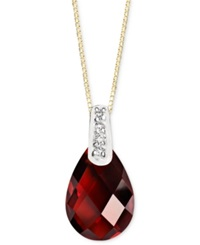 Macy's 14K Gold Necklace Garnet 3 5 8 Ct. T.W. And Diamond Accent Pear Brio Pendant