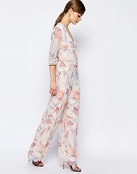 Asos Jumpsuit In Floral Print With Lace Inserts Multi