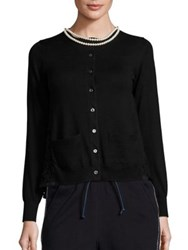 Sacai Beaded Collar Lace Back Cardigan Black