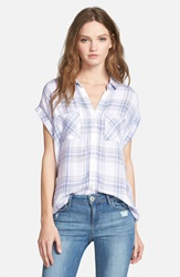 Rails 'Britt' Roll Short Sleeve Check Shirt White Blue Melange
