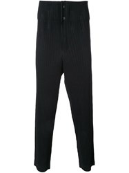 Homme Plisse Issey Miyake Drop Crotch Pleated Trousers Black