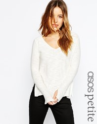 Asos Petite Jumper With V Neck And Split In Natural Yarn Cream