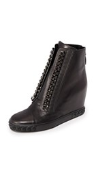 Casadei Chain Sneaker Wedges Black