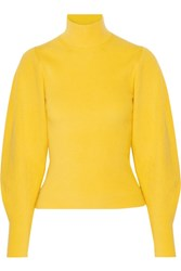 Thierry Mugler Ribbed Wool Blend Turtleneck Sweater Yellow