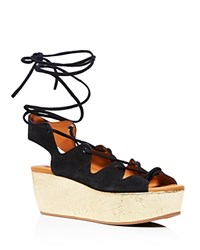 See By Chloe Liana Cork Wedge Lace Up Sandals Black Gold