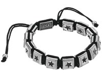 King Baby Studio Macrame Bracelet With Single White Alloy Square Star Beads White Alloy Bracelet Black