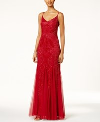 Adrianna Papell Beaded Pleated A Line Gown Crimson Red