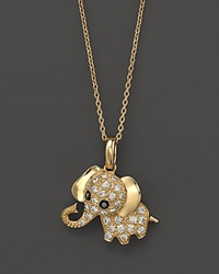 Bloomingdale's Diamond Elephant Pendant Necklace In 14K Yellow Gold .20 Ct. T.W 16.5 No Color