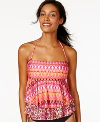 Kenneth Cole Reaction Tribal Print Layered Tankini Top Women's Swimsuit