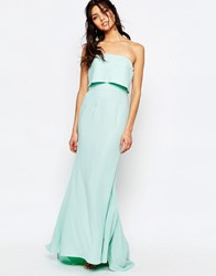 Jarlo Blaze Bandeau Maxi Dress With Overlay Mint Blue