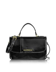 Roccobarocco Medium Patent Eco Leather Satchel Bag Black