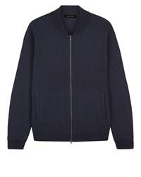 Jaeger Boiled Wool Knitted Bomber Navy