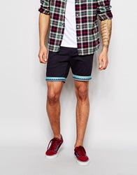 Bellfield Chino Shorts With Aztec Print Turn Up Navy
