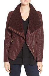 Guess Women's Faux Leather Moto Jacket With Faux Fur Trim Wine