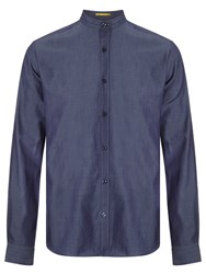 Kin By John Lewis Chambray Mandarin Collar Shirt Navy