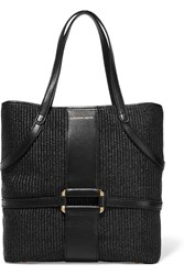 Alexander Mcqueen Padlock Leather Trimmed Raffia Tote Black
