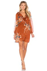 Band Of Gypsies Bouqet Floral Surplice Wrap Dress Rust