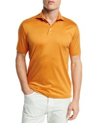 Ermenegildo Zegna Mercerized Cotton Polo Shirt Bright Orange Br Org Sld