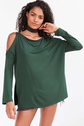 Silence And Noise Falun Cold Shoulder Top Green