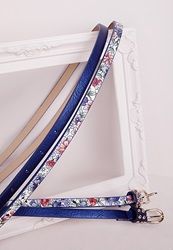 Missguided Floral Two Pack Skinny Belts Blue