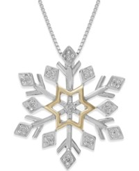 Macy's Diamond Snowflake Pendant Necklace 1 10 Ct. T.W. In 925 14K Yellow Gold Vermeil And Sterling Silver No Color
