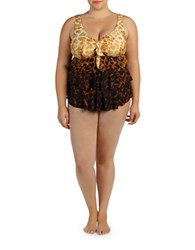 Karen Kane Plus Kokomo Tiered Tankini Brown
