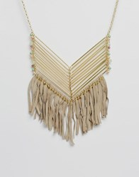 Asos Beach Fringe Necklace Cream