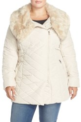 Steve Madden Asymmetrical Quilted Jacket With Faux Fur Collar Plus Size White