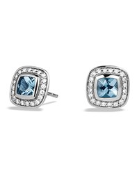 Petite Albion Earrings With Blue Topaz And Diamonds David Yurman