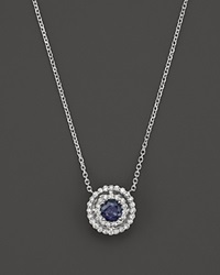 Bloomingdale's Sapphire And Diamond Pendant Necklace In 14K White Gold 16 Blue White