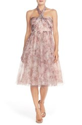 Women's Jenny Yoo 'Maia' Print Tulle Convertible Tea Length Fit And Flare Dress Lavender Multi