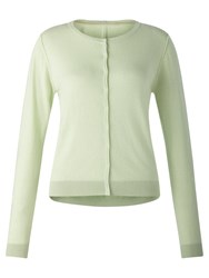 Jigsaw Crew Neck Cotton Cashmere Cardigan Pistachio