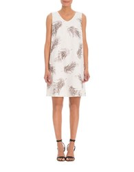 Nic Zoe Glazed Feather Print Linen Dress Multi Colored