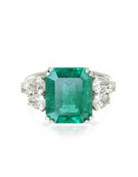 Forzieri Emerald And Diamond White Gold Ring Green