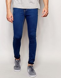 Pull And Bear Pullandbear Super Skinny Jeans In Mid Wash Blue Blue