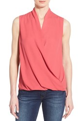 Pleione Women's Sleeveless Faux Wrap Blouse Red Chateaux