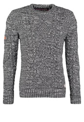 Superdry Black Blizzard Crew Jumper Grey Twist Mottled Grey