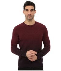 Ted Baker Holaday Sprayed Ombre Long Sleeve Crew Neck Dark Red Men's Clothing