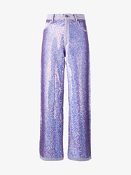 Ashish Sequin Embellished Jeans Purple Denim Black