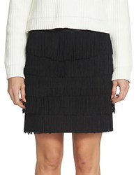 1.State Ponte Tiered And Fringed Mini Skirt Rich Black