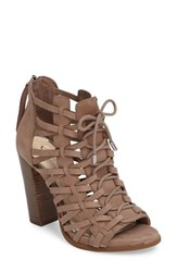 Jessica Simpson Women's Riana Woven Leather Cage Sandal Warm Taupe Nubuck Leather